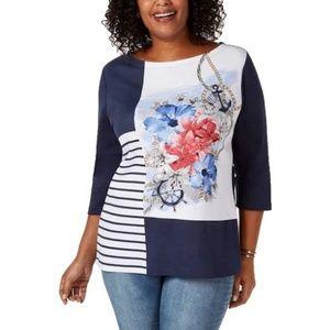 Karen Scott Plus Size 3/4 Sleeve Mixed-print Shirt